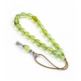 Green amber worry beads efhantro, simple bead finish, 678