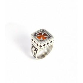 Χειροποίητο ασημένιο δαχτυλίδι, με σταυρό, βυζαντινό σχέδιο, κωδ. Δ-265