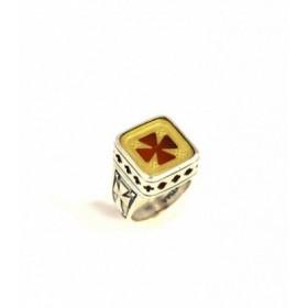 Χειροποίητο ασημένιο δαχτυλίδι, με επιχρυσωμένο σταυρό, βυζαντινό σχέδιο, κωδ. ΔΕ-265