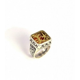 Handmade Sterling silver ring, gold plated design, code DE-273