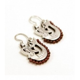 Dangle sterling silver earrings with mermaids and garnet, S-26