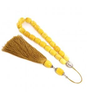 Yellow matt (royal) amber worry beads, clasic finish, 973