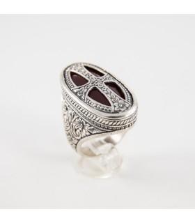Χειροποίητο ασημένιο δαχτυλίδι, με καρνεόλη, βυζαντινό σχέδιο, κωδ. Δ-290