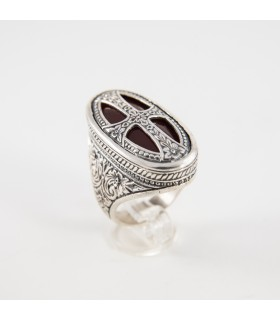 Sterling silver ring with Carnelian, Byzantine design, code D-290