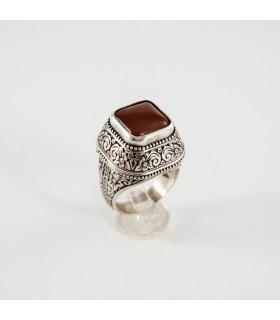 Ασημένιο δαχτυλίδι, με καρνεόλη, κωδ. Δ-289