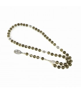 Semi Precious Stones Rosary with sterling silver accessories, code 1