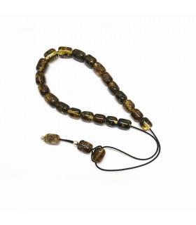 Green amber komboloi, simple bead finish, code 980