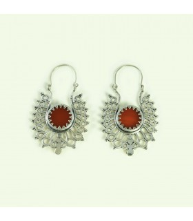 Folk art earrings with semi precious stone carnelian, code S_132