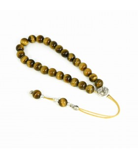 Tiger Eye komboloi - worry beads, with sterling silver accessories, code 9