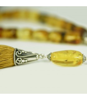 Baltic Amber worry beads - komboloi with inclusions. code 33