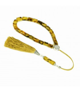Green Baltic amber komboloi - worry beads, classic finish, code 61