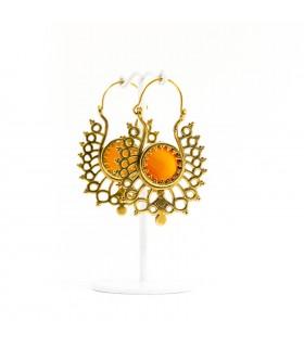 Folk art earrings with semi precious stone carnelian, code S_132