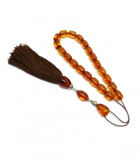 Cognac Baltic amber worry beads, classic finish, code 244