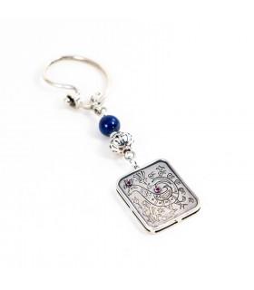 Silver key ring, design based on Skyros emboderies, code P_4