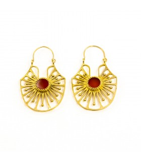 Folk art earrings with semi precious stone carnelian, code S_137