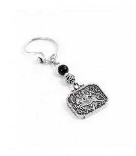 Ασημένια κλειδοθήκη, με σχέδιο βασισμένο στα Σκυριανά κεντήματα, κωδ. P_9