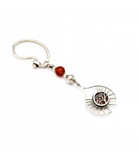 Silver key ring  with carnelian. Theme: Bird, code KR_4