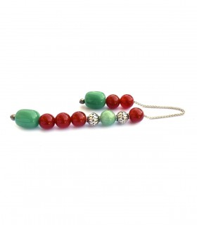 Green aventurine and Carnelian semi precious begleri beads, code 106