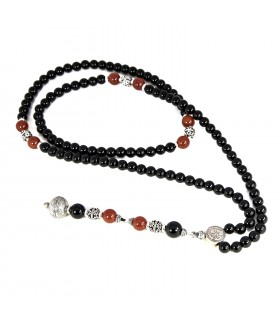 Semi Precious Stones mala beads with sterling silver accessories, code 287