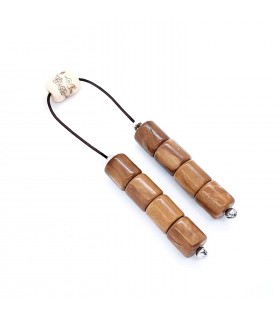 Cocowood with painted bone begleri beads, code 328