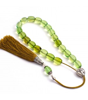 Green Caribbean amber worry beads efhantro, classic finish, 687